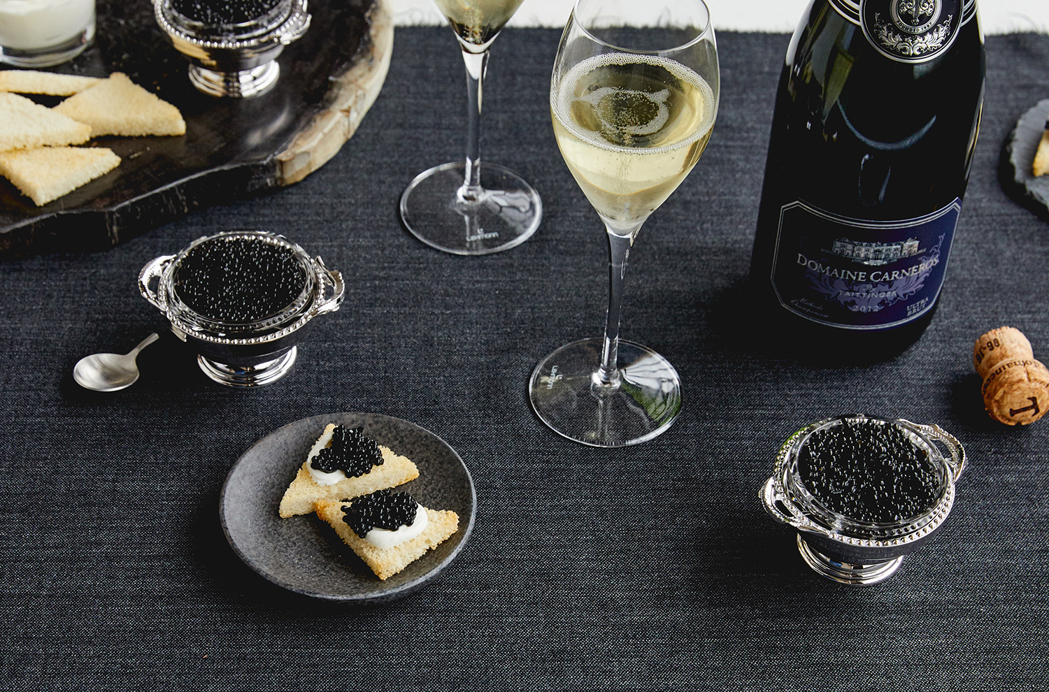 Caviar and sparkling wine event
