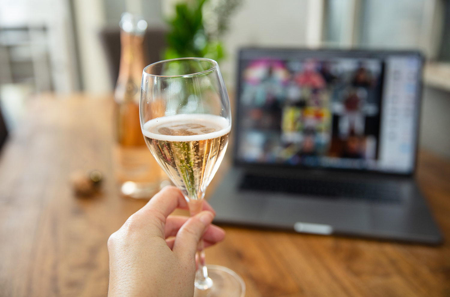 Woman holding glass of sparkling in front of computer