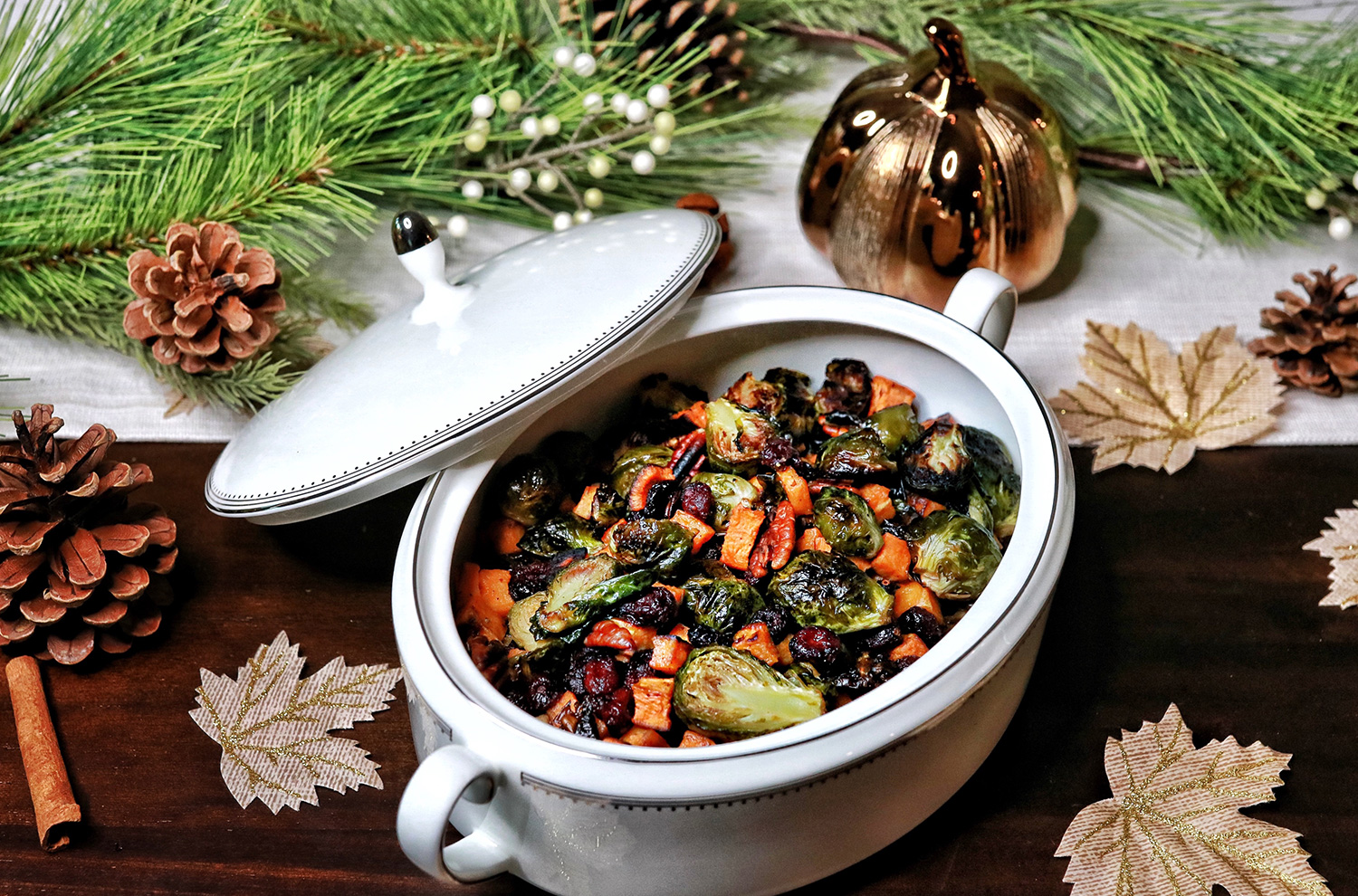 Brussels Sprouts with Sweet Potato, Pecans and Cranberries