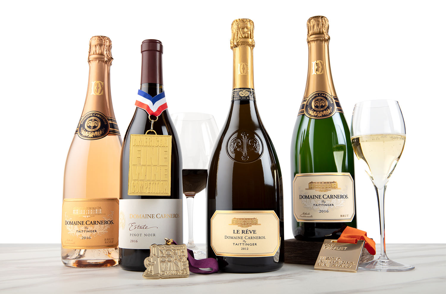 Domaine Carneros wine bottles & medals they have been awarded